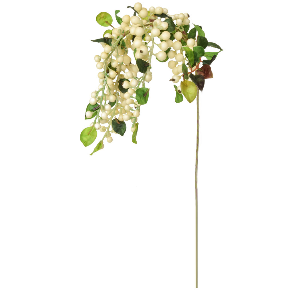 Foliage Hanging Berry Spray Wh GB 55cm