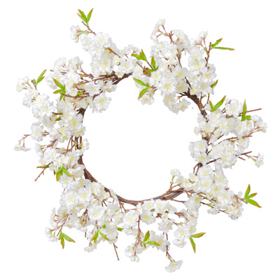 Foliage Cherry Blossom Wreath Cream 66cm