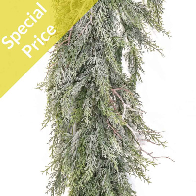 S-Pine and Deadwood Garland w/Frost 195cm